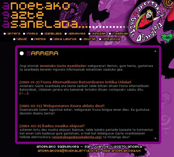 Anoetako Gazte Asanblada: web gunea