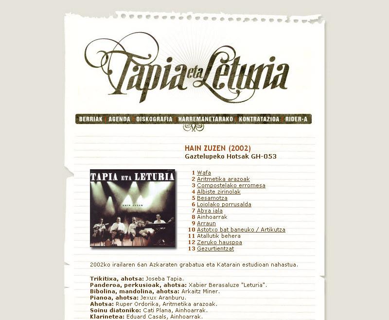 Tapia eta Leturia: web gunea