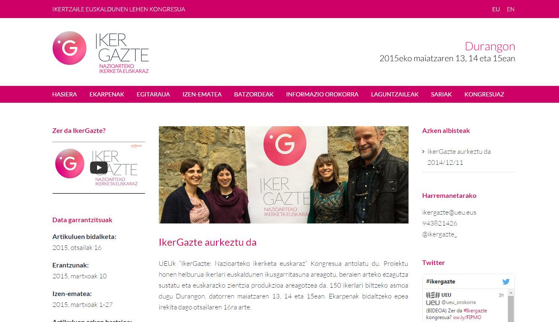 IkerGazte  kongresuaren  web  orria  garatu  dugu