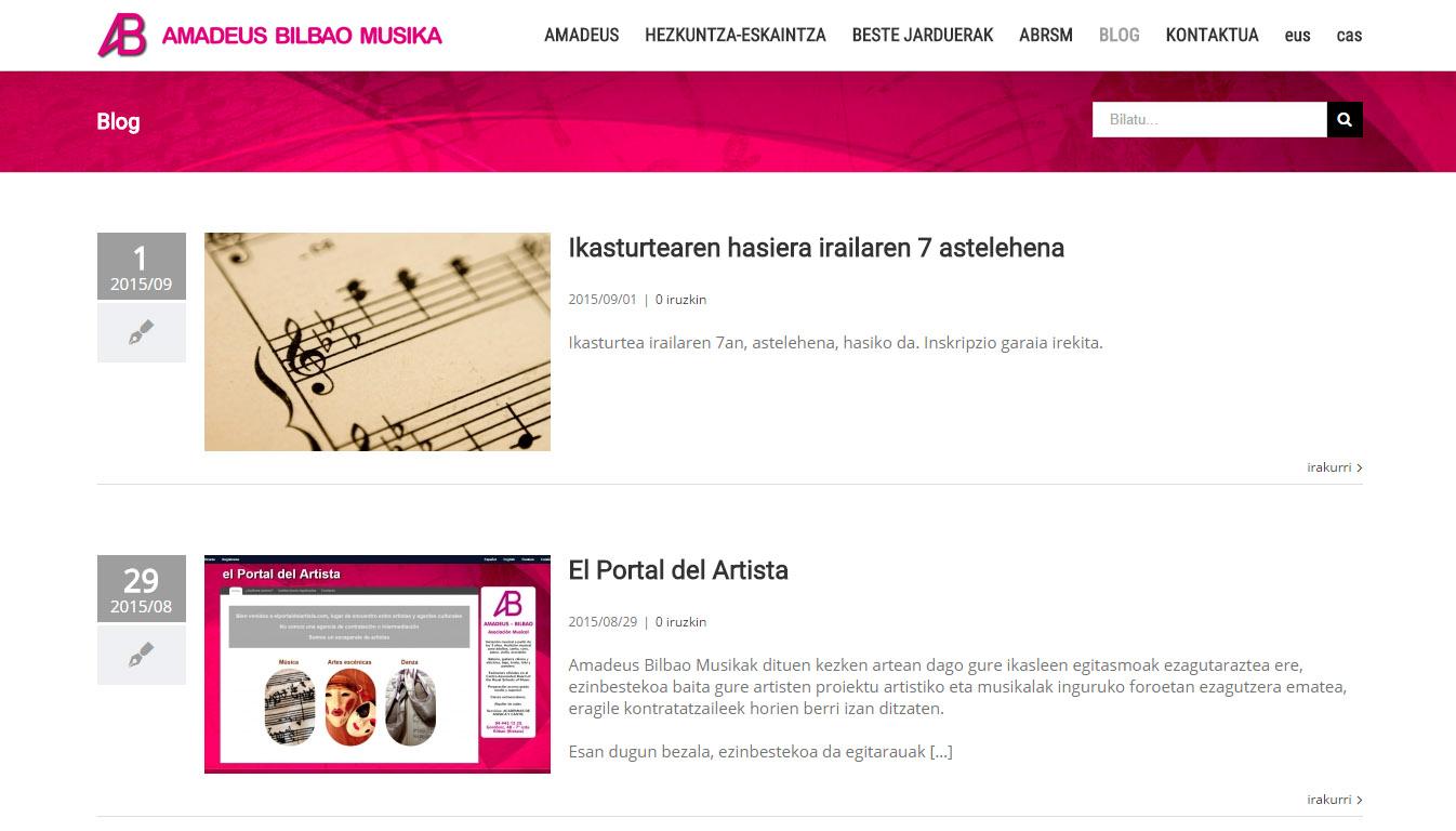 Prest Amadeus Bilbao akademiaren web orria