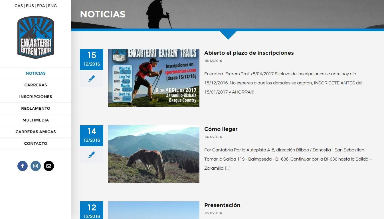 Enkarterri Extrem Trails lasterketen web orria