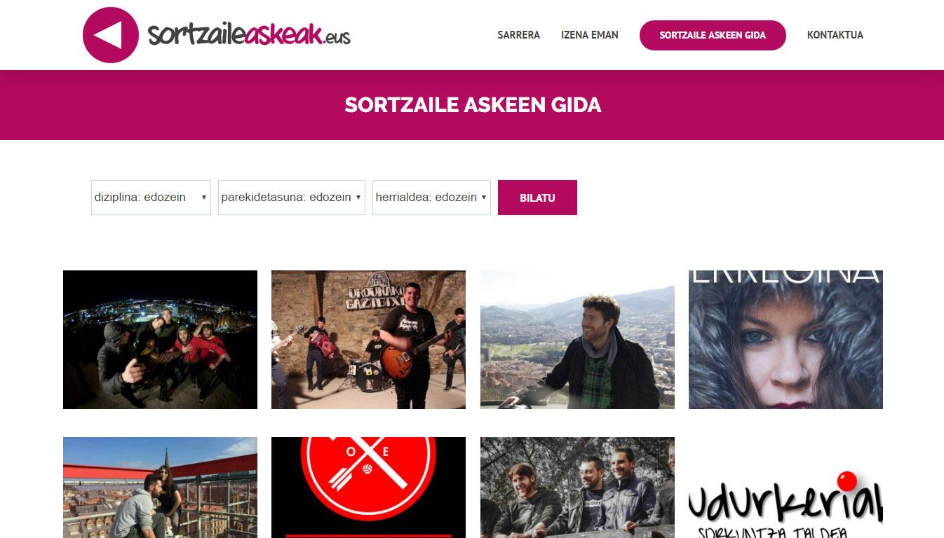 Sortzaile Askeak: página web