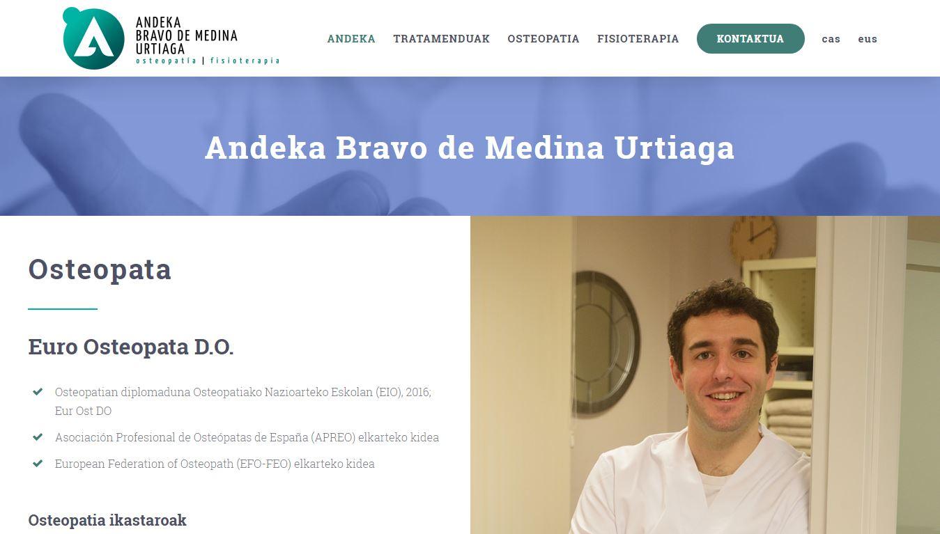 Andeka Bravo de Medina osteopataren web gunea sortu dugu